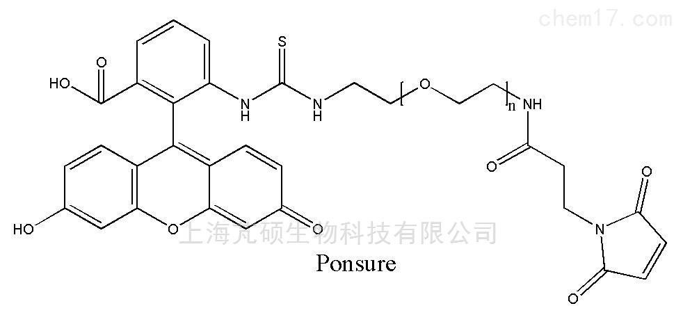 (备注:非常规分子量:400、600。精确聚合度的小分子定制。) 结构式:  基本信息: 中文名称:荧光素-聚乙二醇-马来酰亚胺 (FITC-PEG-MAL) 别名:FITC-PEG-Maleimide 英文名称:FITC-PEG-Maleimide,FITC-PEG-MAL CAS:- 分子量:400、600、1K、2K、3.4K、4K、5K、10K 纯度:95%以上 荧光素PEG马来酰亚胺,FITC-PEG-MAL,芃硕生物推出,自主研发,欢迎选购! 应用简介: 芃硕生物(Ponsure)的荧光素PE