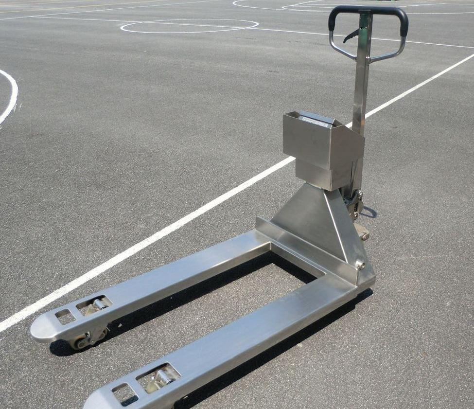 <strong>500公斤工业不锈钢叉车秤托盘称重搬运称</strong>